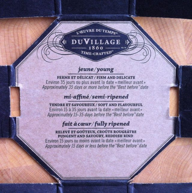 DuVillage Le Triple Cream Cheese info inside the box